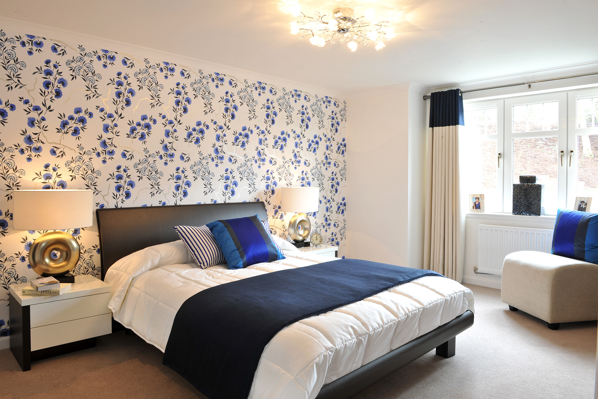 Image of bedroom with blue colour theme