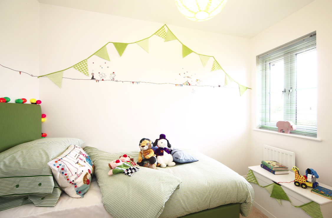 Image of bedroom with green colour theme