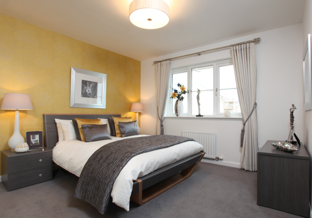 Image of bedroom with yellow colour theme